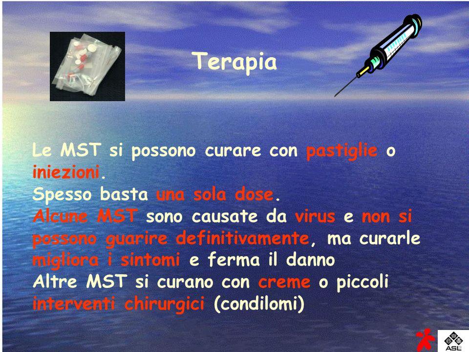 Terapia Le MST si possono curare con pastiglie o iniezioni.