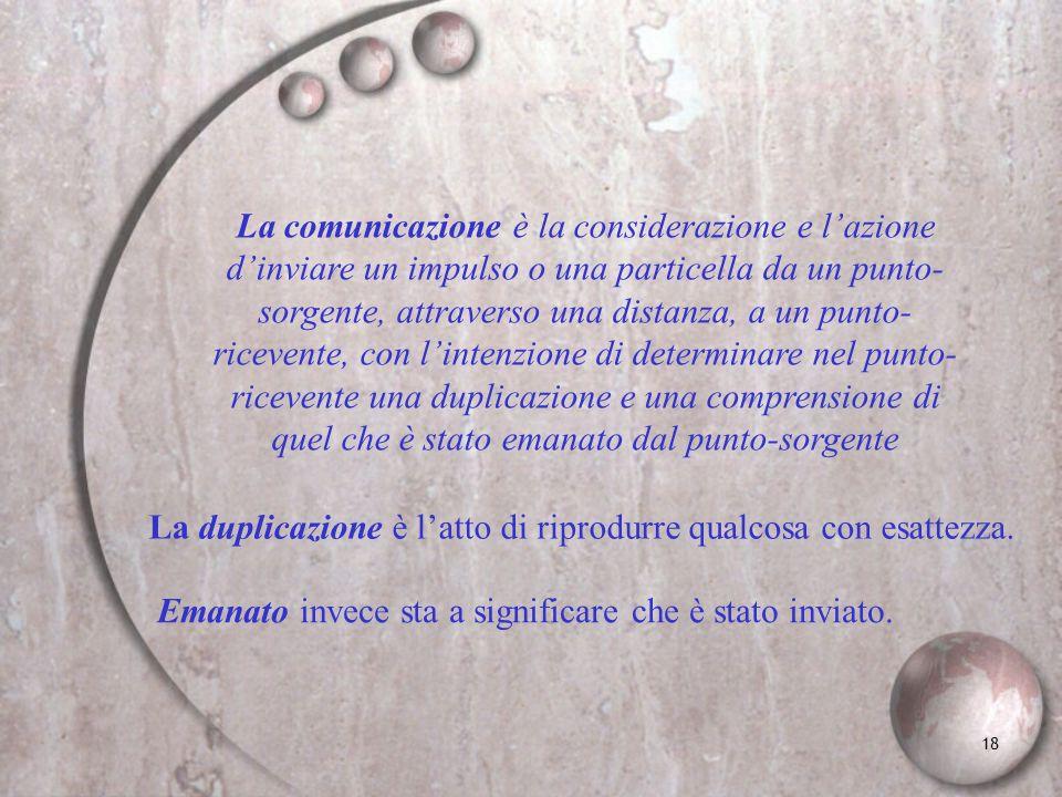 La comunicazione è la considerazione e l'azione d'inviare un impulso o una particella da un punto-sorgente, attraverso una distanza, a un punto-ricevente, con l'intenzione di determinare nel punto-ricevente una duplicazione e una comprensione di quel che è stato emanato dal punto-sorgente