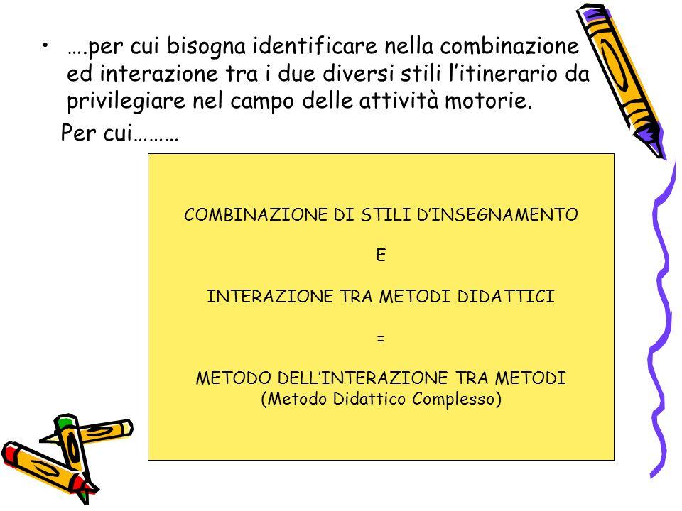 ….per cui bisogna identificare nella combinazione ed interazione tra i due diversi stili l'itinerario da privilegiare nel campo delle attività motorie.