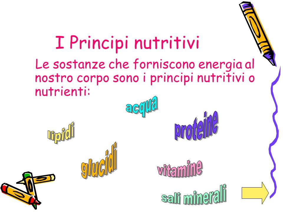 I Principi nutritivi Le sostanze che forniscono energia al nostro corpo sono i principi nutritivi o nutrienti:
