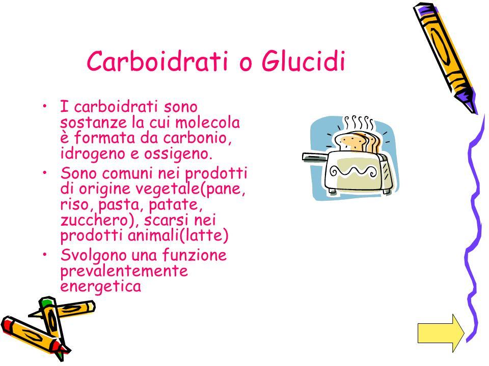 Carboidrati o Glucidi I carboidrati sono sostanze la cui molecola è formata da carbonio, idrogeno e ossigeno.