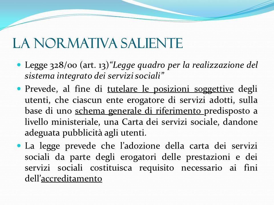 La normativa saliente Legge 328/00 (art. 13) Legge quadro per la realizzazione del sistema integrato dei servizi sociali