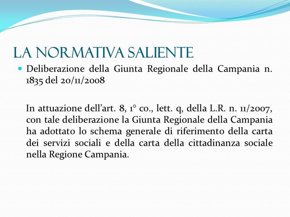 La normativa saliente Deliberazione della Giunta Regionale della Campania n. 1835 del 20/11/2008.