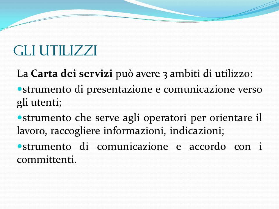 GLI UTILIZZI La Carta dei servizi può avere 3 ambiti di utilizzo: