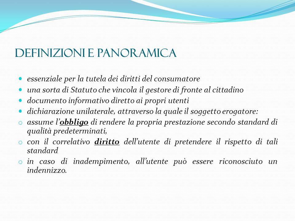 DEFINIZIONI E PANORAMICA