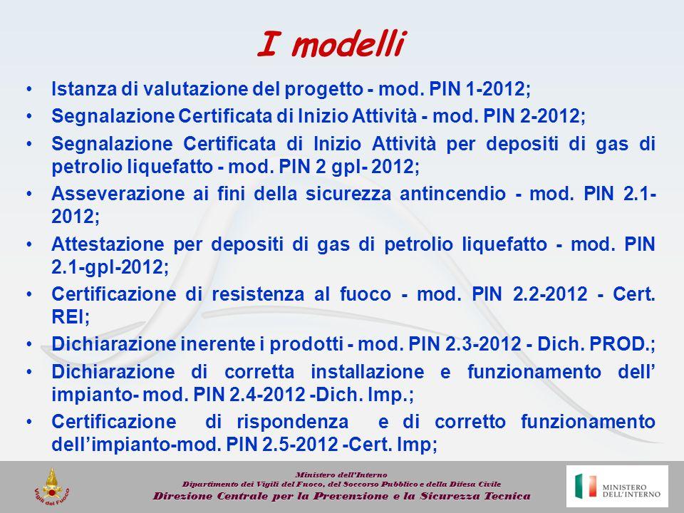 I modelli Istanza di valutazione del progetto - mod. PIN 1-2012;