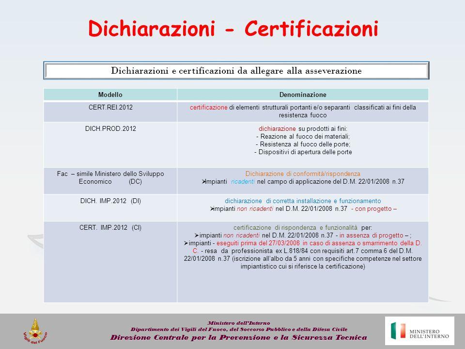 Dichiarazioni - Certificazioni
