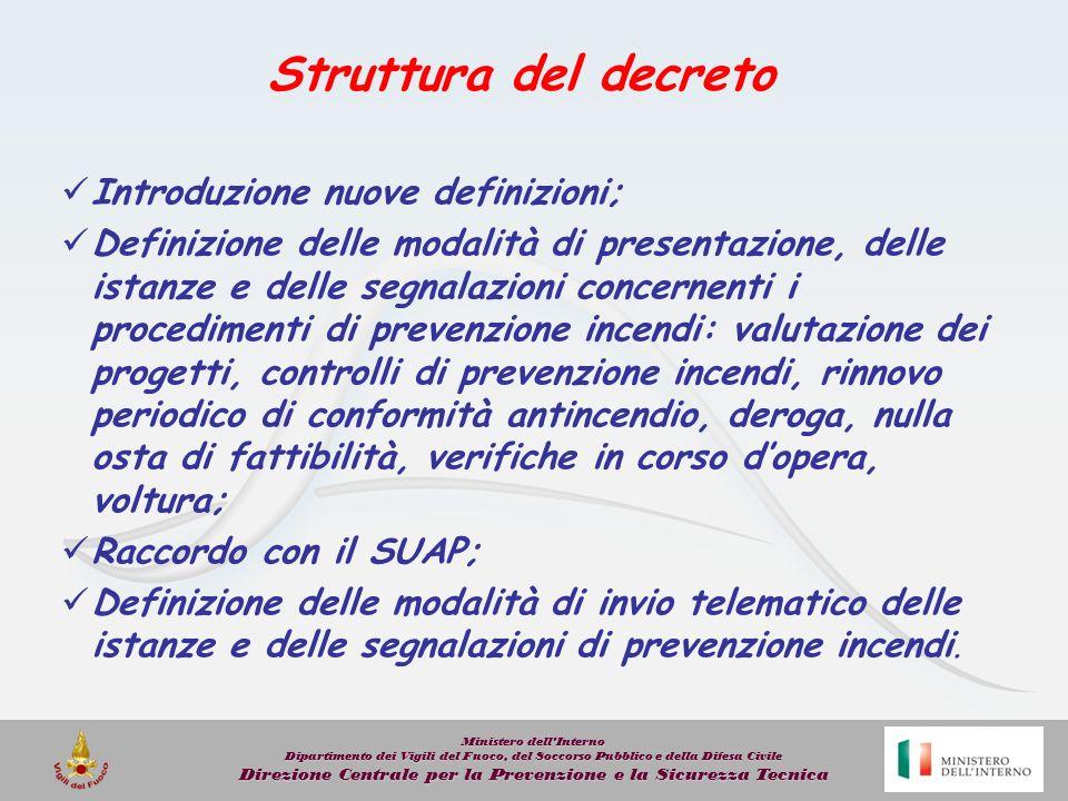 Struttura del decreto Introduzione nuove definizioni;