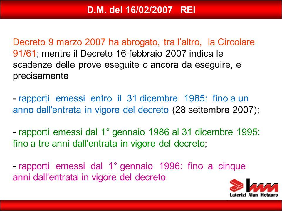 D.M. del 16/02/2007 REI