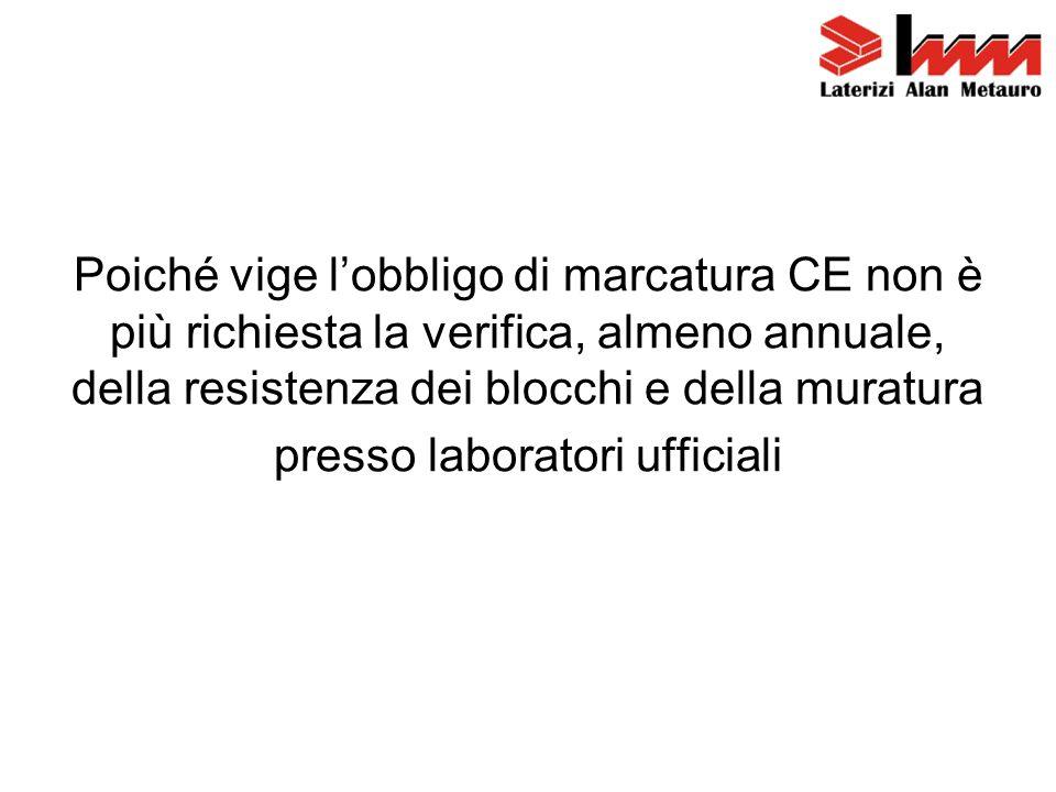 Poiché vige l'obbligo di marcatura CE non è più richiesta la verifica, almeno annuale, della resistenza dei blocchi e della muratura presso laboratori ufficiali