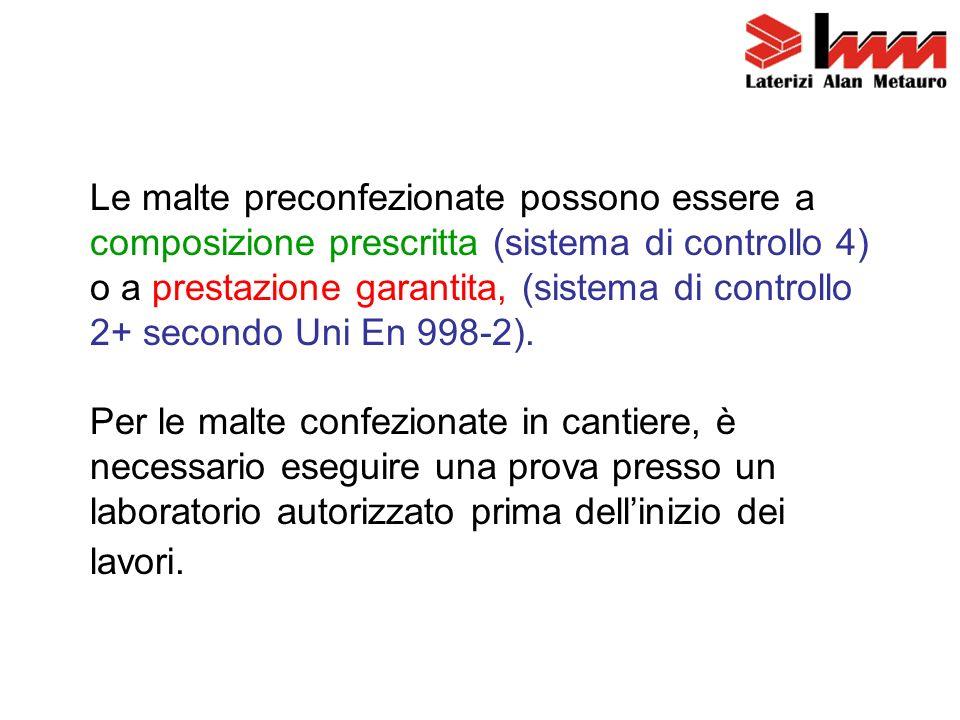 Le malte preconfezionate possono essere a composizione prescritta (sistema di controllo 4) o a prestazione garantita, (sistema di controllo 2+ secondo Uni En 998-2).