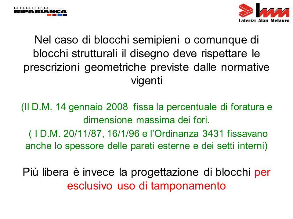 Nel caso di blocchi semipieni o comunque di blocchi strutturali il disegno deve rispettare le prescrizioni geometriche previste dalle normative vigenti (Il D.M.