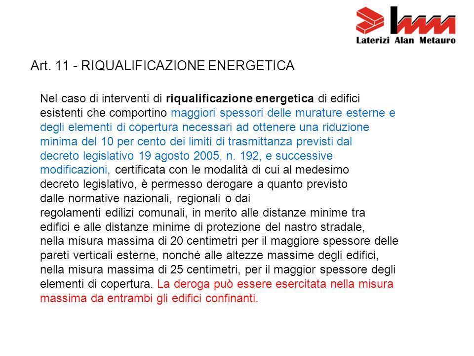 Art. 11 - RIQUALIFICAZIONE ENERGETICA