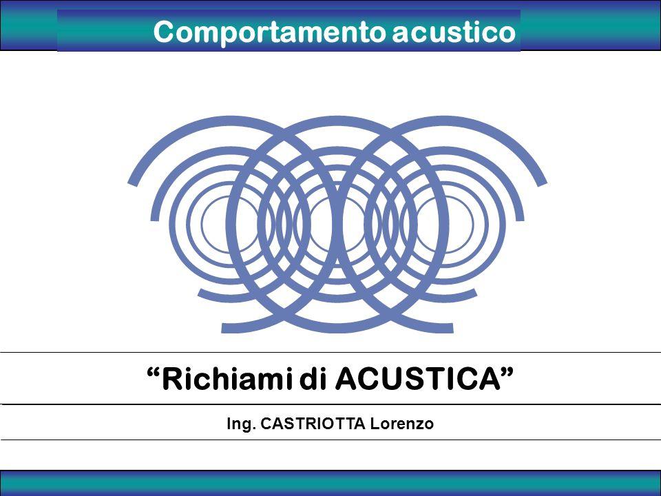 Richiami di ACUSTICA Ing. CASTRIOTTA Lorenzo