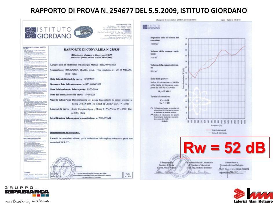 Rw = 52 dB RAPPORTO DI PROVA N. 254677 DEL 5.5.2009, ISTITUTO GIORDANO