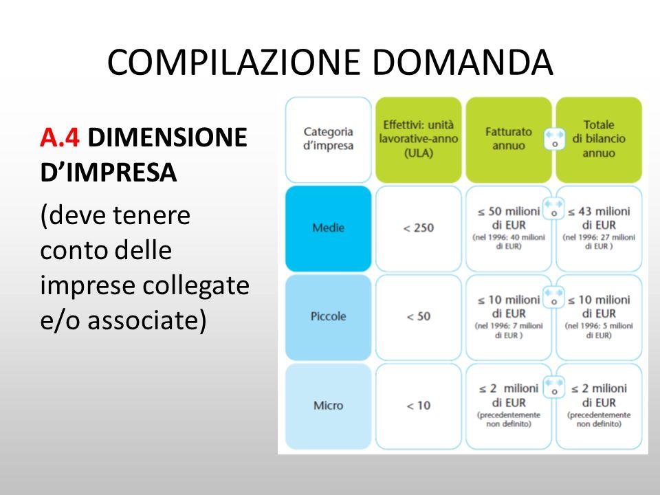 COMPILAZIONE DOMANDA A.4 DIMENSIONE D'IMPRESA (deve tenere conto delle imprese collegate e/o associate)