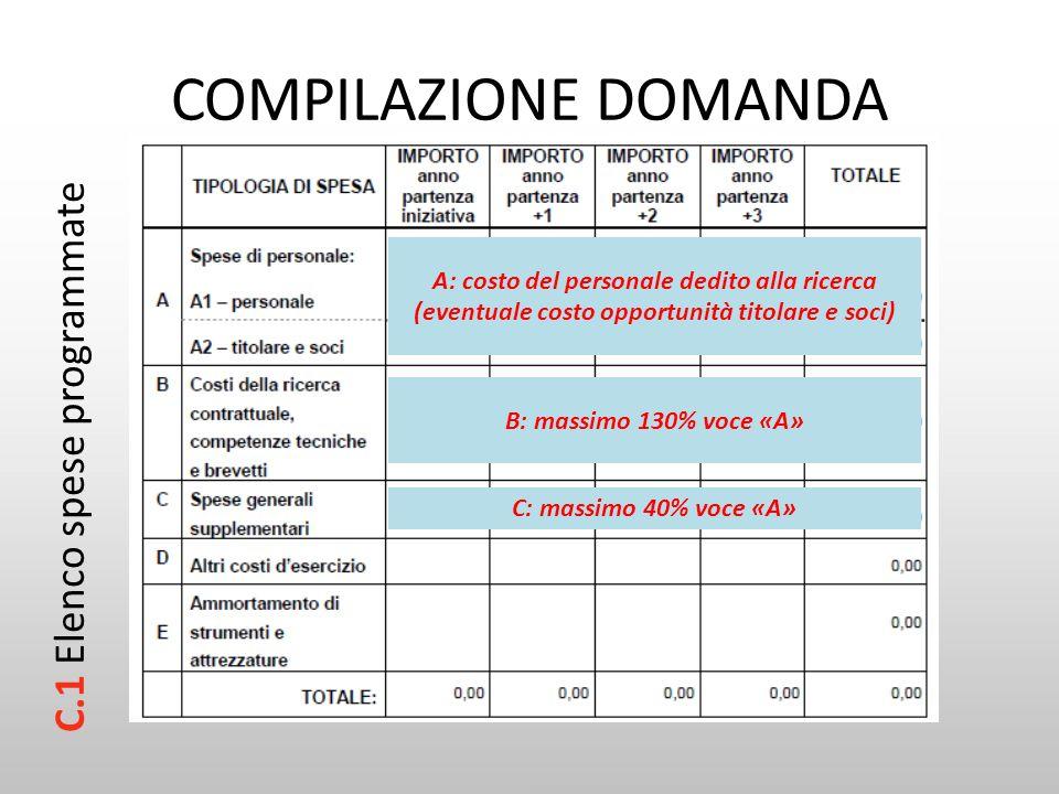 COMPILAZIONE DOMANDA C.1 Elenco spese programmate