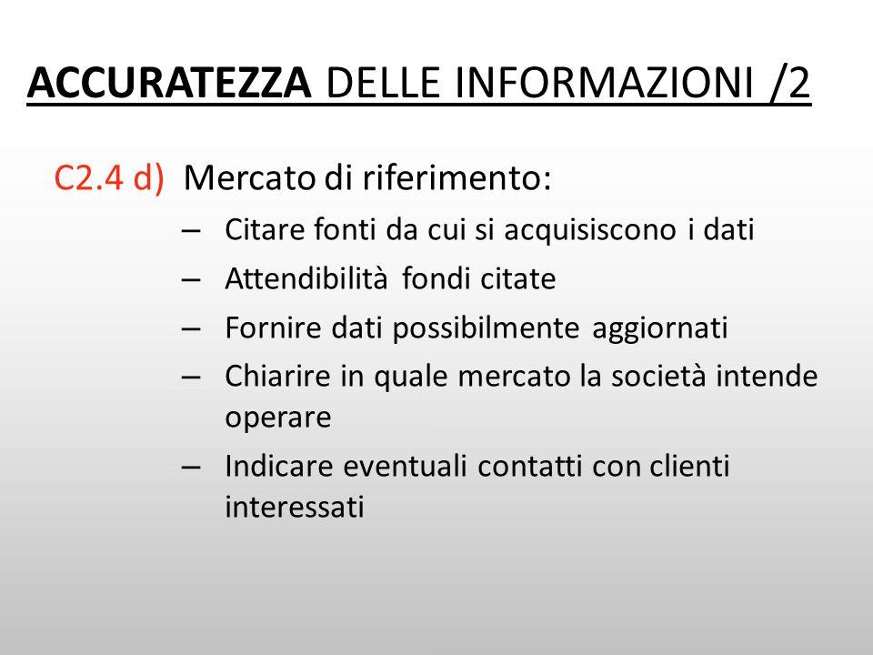 ACCURATEZZA DELLE INFORMAZIONI /2