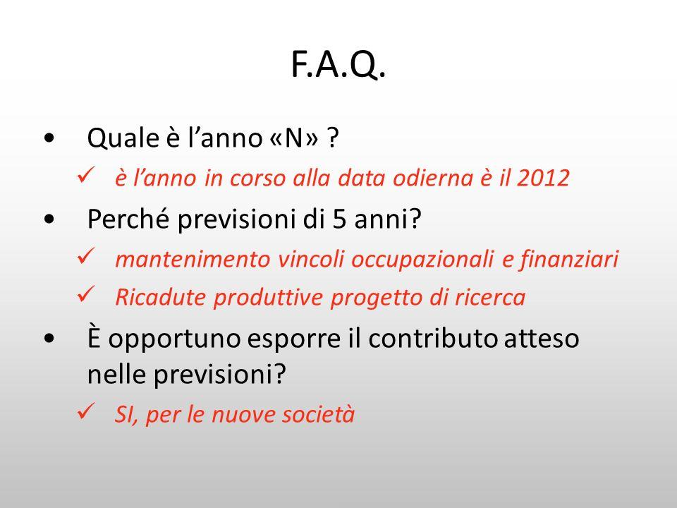 F.A.Q. Quale è l'anno «N» Perché previsioni di 5 anni