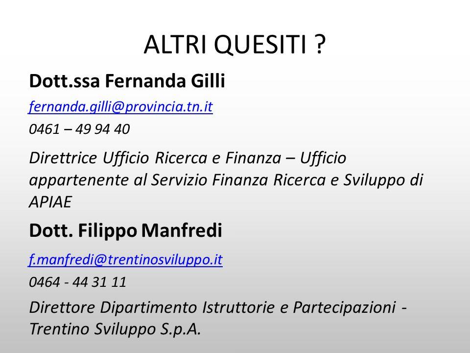 ALTRI QUESITI Dott.ssa Fernanda Gilli Dott. Filippo Manfredi