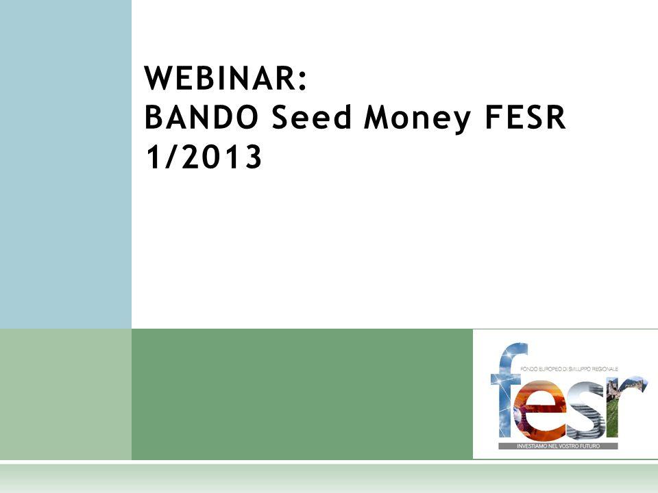 WEBINAR: BANDO Seed Money FESR 1/2013