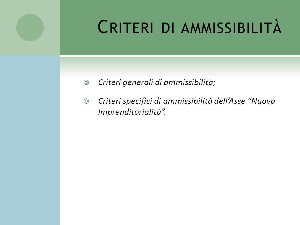 Criteri di ammissibilità