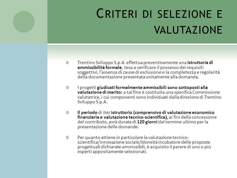 Criteri di selezione e valutazione