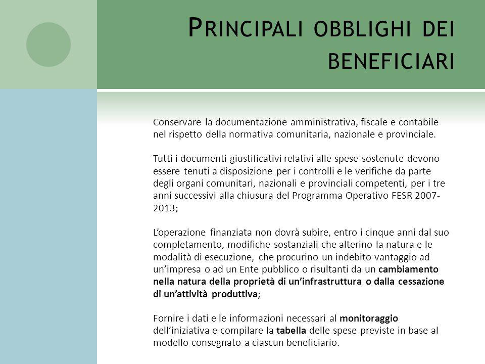 Principali obblighi dei beneficiari