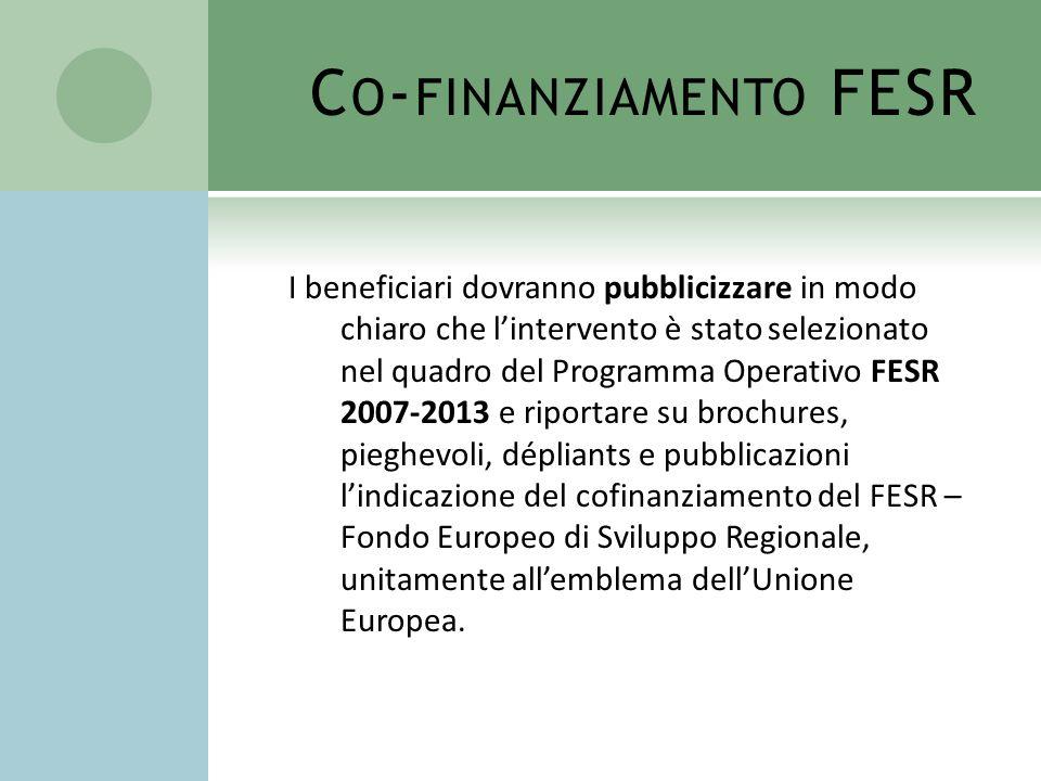 Co-finanziamento FESR
