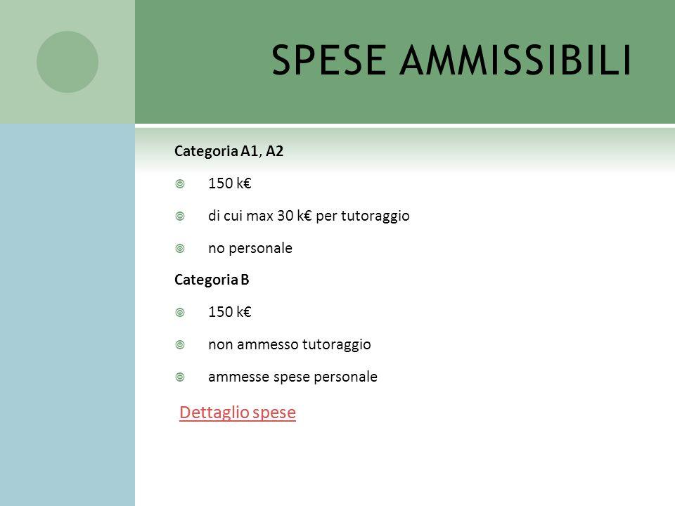 SPESE AMMISSIBILI Dettaglio spese Dettaglio spese Categoria A1, A2