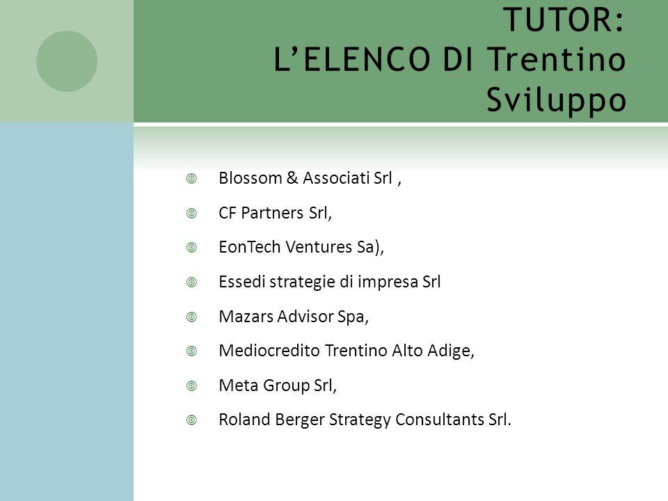 TUTOR: L'ELENCO DI Trentino Sviluppo