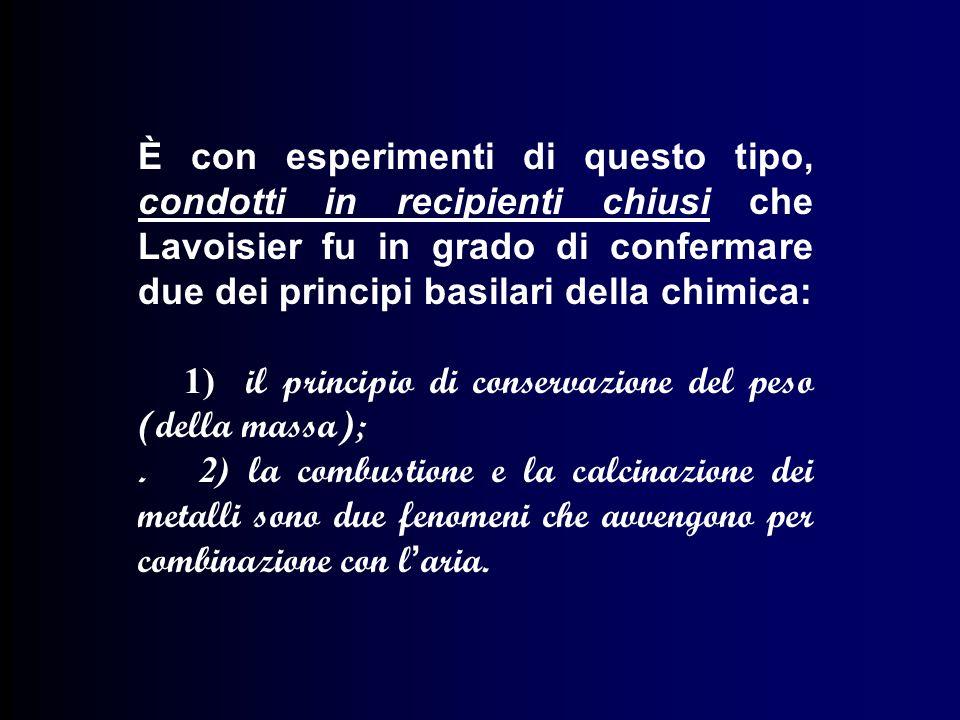 È con esperimenti di questo tipo, condotti in recipienti chiusi che Lavoisier fu in grado di confermare due dei principi basilari della chimica: