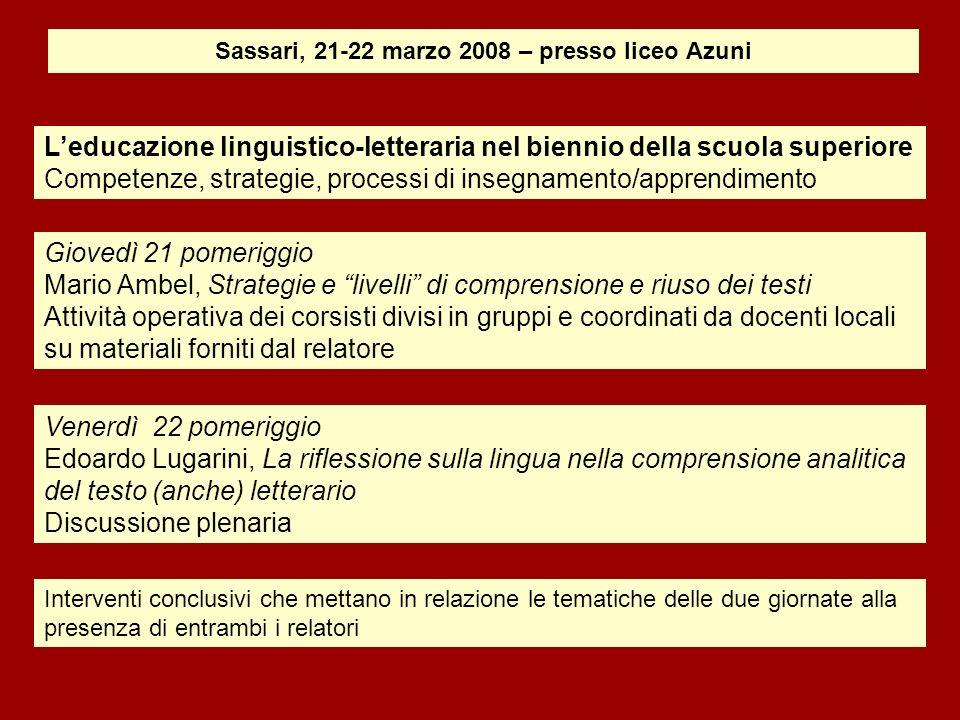 Sassari, 21-22 marzo 2008 – presso liceo Azuni