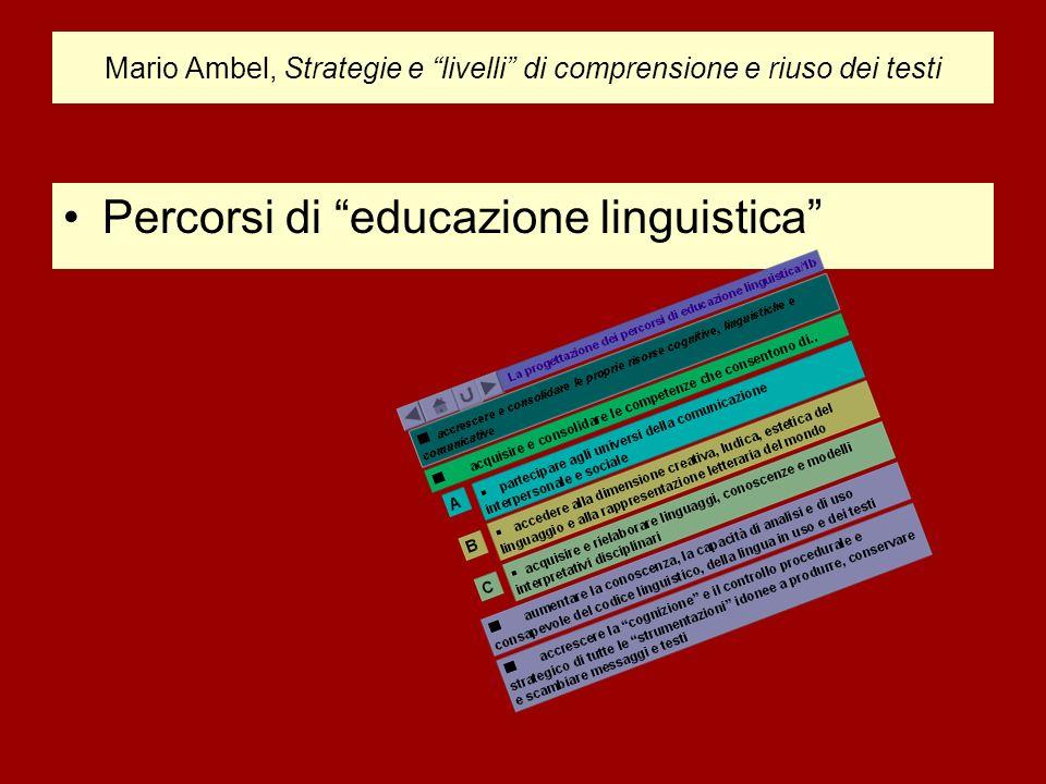 Mario Ambel, Strategie e livelli di comprensione e riuso dei testi