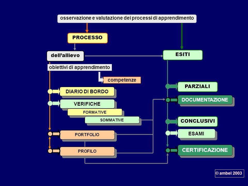 dell'allievoPROCESSO. ESITI. osservazione e valutazione dei processi di apprendimento. competenze. obiettivi di apprendimento.