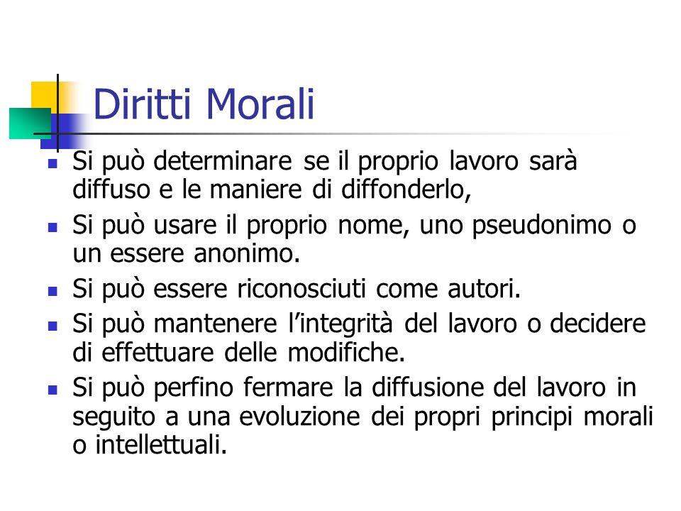 Diritti Morali Si può determinare se il proprio lavoro sarà diffuso e le maniere di diffonderlo,