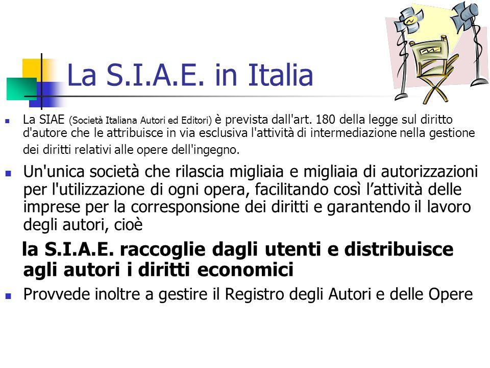 La S.I.A.E. in Italia
