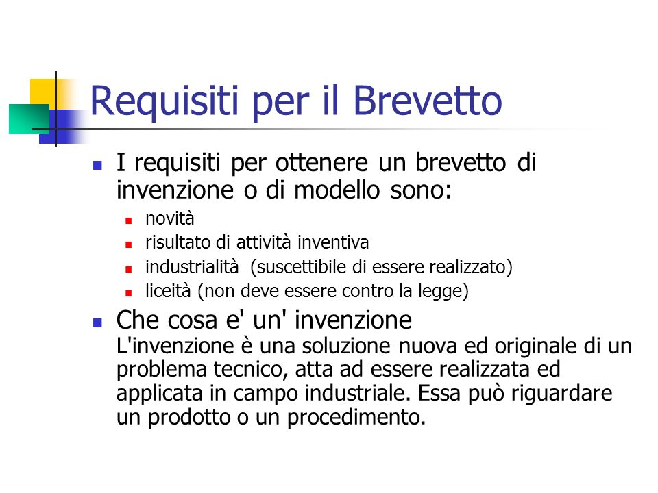 Requisiti per il Brevetto