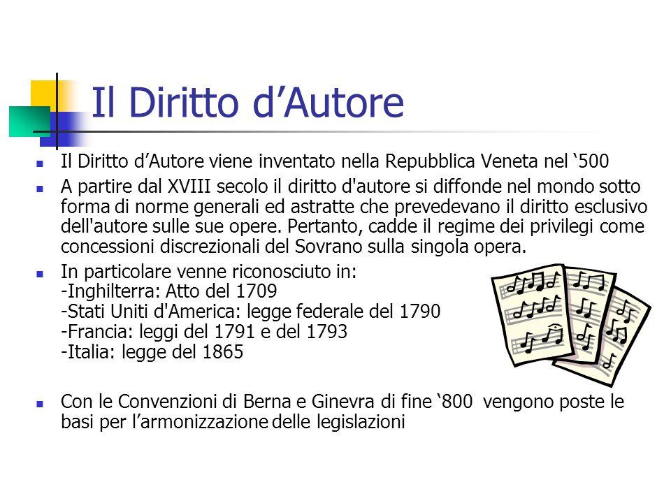 Il Diritto d'Autore Il Diritto d'Autore viene inventato nella Repubblica Veneta nel '500.