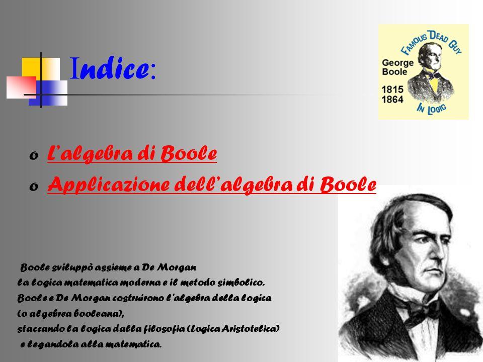 Indice: L'algebra di Boole Applicazione dell'algebra di Boole