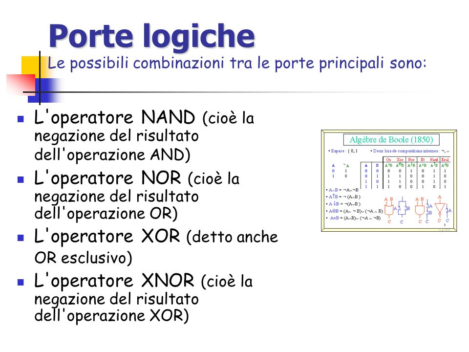 Porte logiche Le possibili combinazioni tra le porte principali sono:
