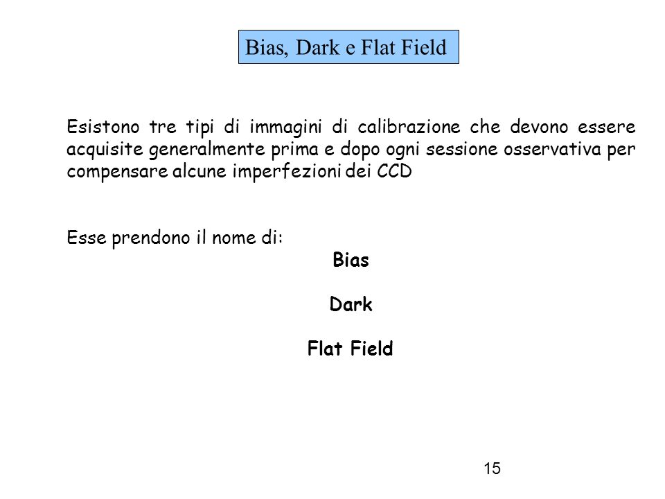 Bias, Dark e Flat Field