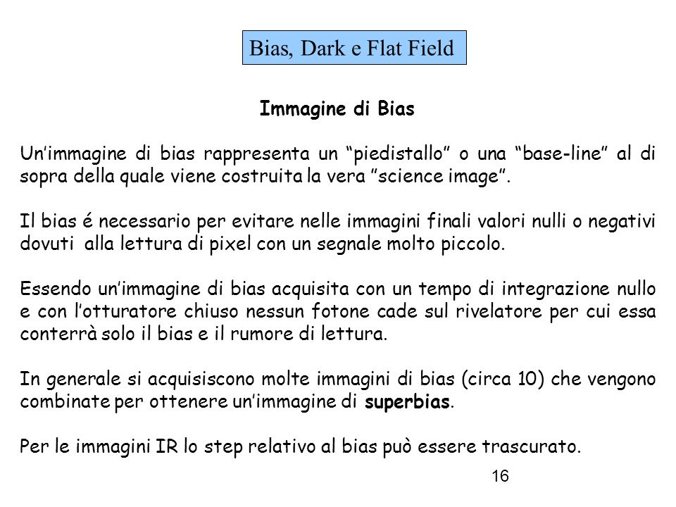 Bias, Dark e Flat Field Immagine di Bias