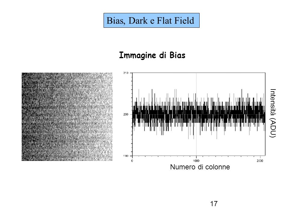 Bias, Dark e Flat Field Immagine di Bias Intensità (ADU)