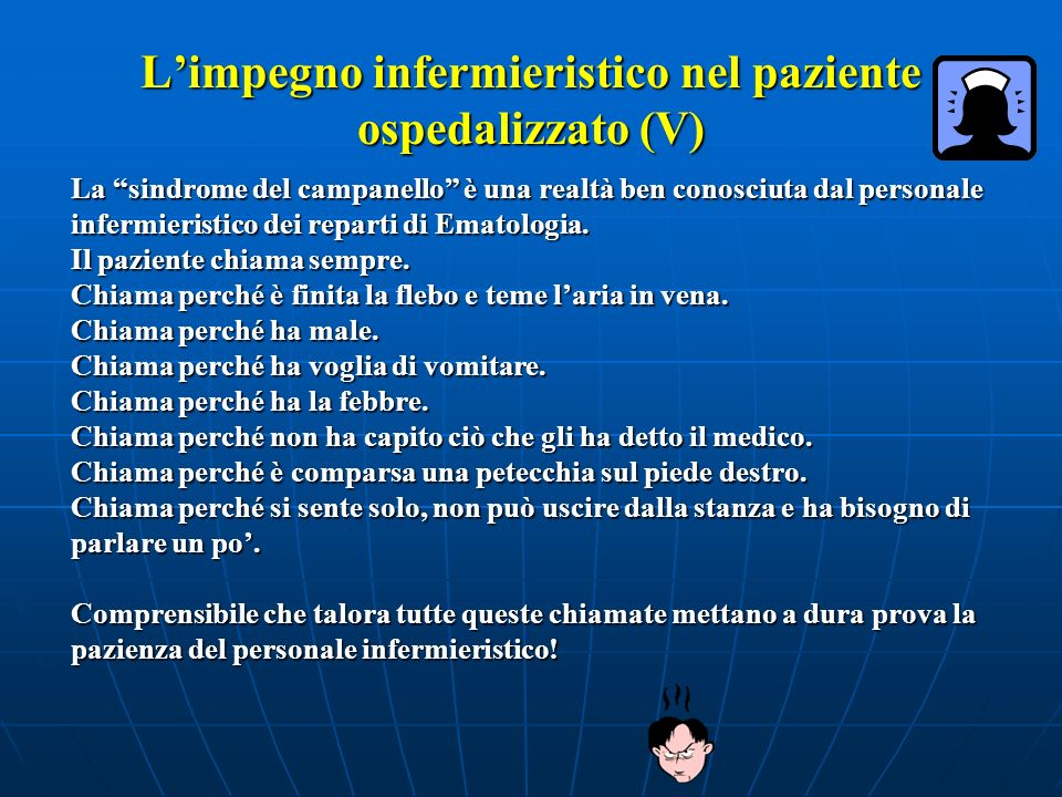 L'impegno infermieristico nel paziente ospedalizzato (V)