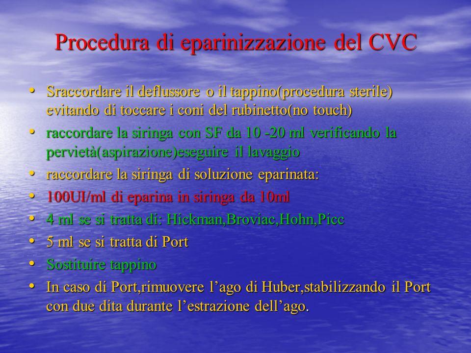 Procedura di eparinizzazione del CVC