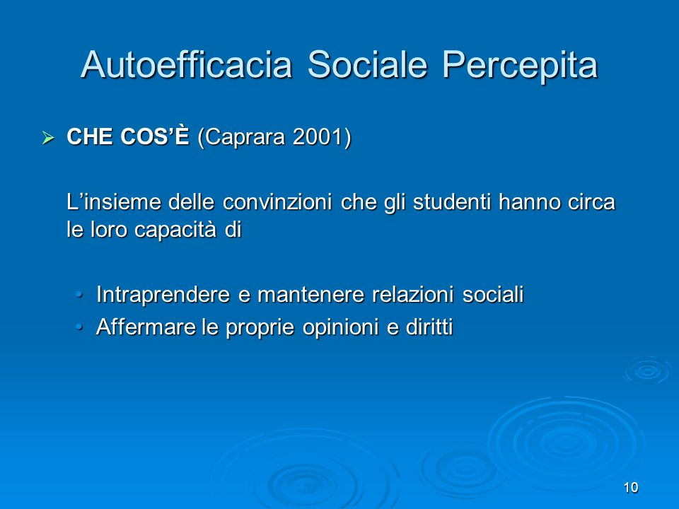Autoefficacia Sociale Percepita