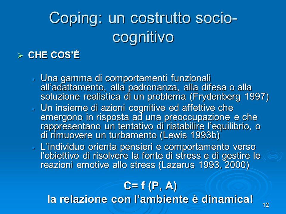 Coping: un costrutto socio-cognitivo