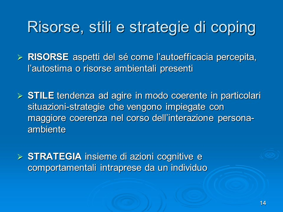 Risorse, stili e strategie di coping