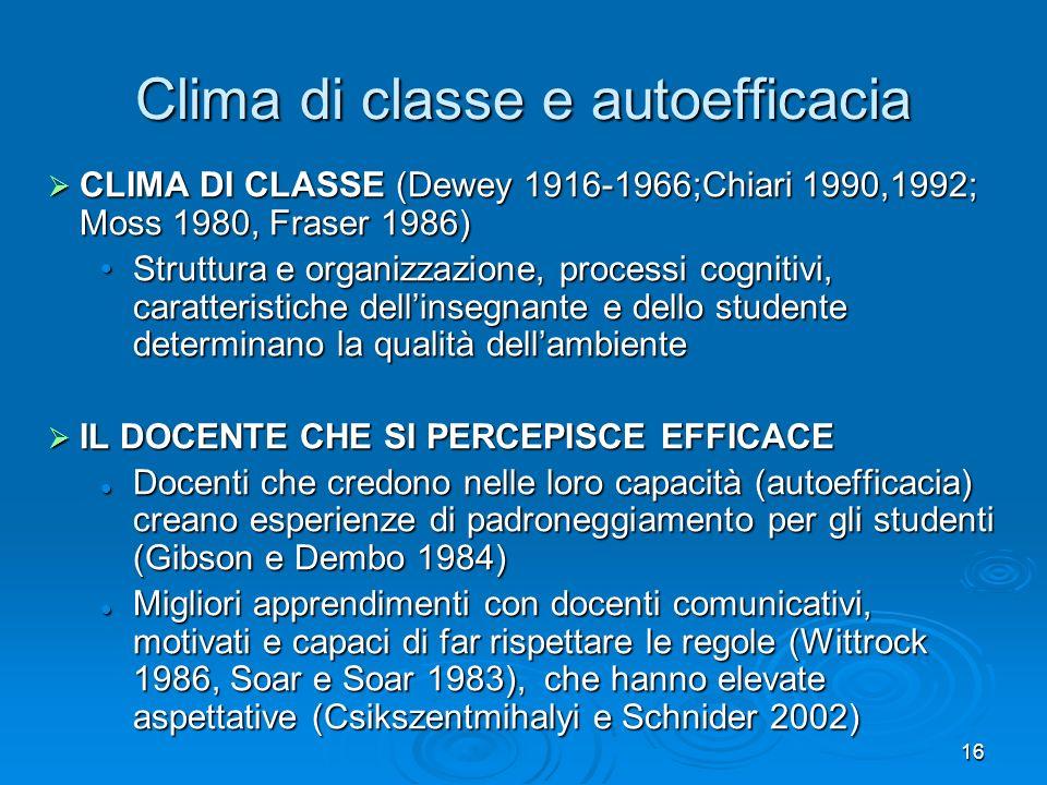 Clima di classe e autoefficacia